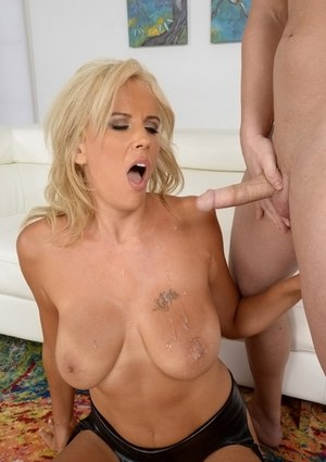 Blonde Olga Polansky rides like a cowgirl before cum blast on big natural tits