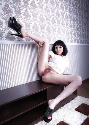 Aged brunette lady Matilda peeling off ripped shorts and panties to bare bush