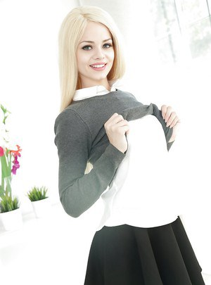 Cute blonde amateur Elsa Jean stripping down to over the knee socks