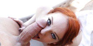 Outdoor cock sucking extreme along spicy redhead in heats Dani Jensen