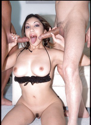 Barely legal Asian girl Nautica doing a hard MMF threesome with hung gents