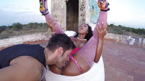 Oiled up black girl NoeMilk doing hardcore sex acts in the ghetto