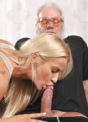 Pretty young blond Chary Kiss gives grandpa a blowjob like hes not had before