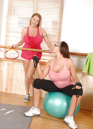Lesbian milfs with big tits play some sport and then go lesbian in the gym
