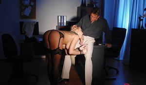 Blonde female Kayla Green forced to suck cock while handcuffed