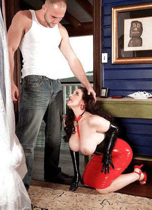 Chubby MILF Angela White banging large cock wearing long gloves and red heels