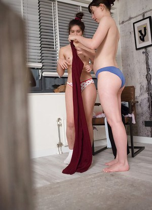 Hairy amateurs Alexandra and Gala dress each other after lesbian lovemaking