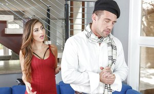 Pornstar Nina North seducing man in beret while his wife is out of town