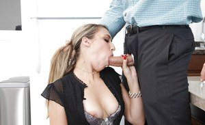 Blonde office worker Kimber Lee seducing co-worker for hard fuck in lunchroom
