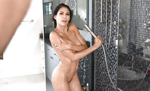 Brunette wife Heather Vahn caught showering by hubby and fucked senseless