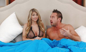 Busty blonde Kayla Kayden seduces hubby in sheer lingerie for hard fuck on bed