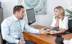 Hot blonde boss lady Jessa Rhodes having male employee provide sexual relief