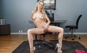 Sexy blonde in tight skirt strips off pink lingerie to masturbate at work