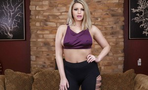 Curvy blonde Brooklyn Chase uncover nice melons and removing sexy leggings