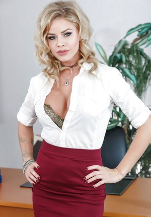 Blonde office babe Jessa Rhodes stripping off skirt and satin lingerie on desk