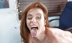 Redhead Ariella Ferrera uses cock to dazzle her needs for extreme blowjob