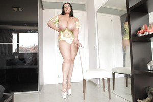 Overweight MILF Anastasia Lux exposes hooters and big ass in high heeled shoes