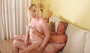 Busty amateur granny Angeline needy blowjob and heavy sex