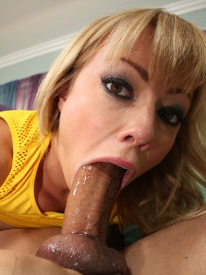 Hot blonde MILF Adrianna Nicole devouring huge dick during deepthroat session