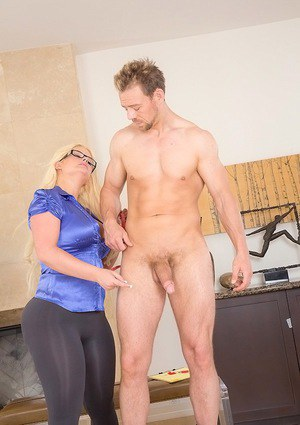 Fat asses blonde Julie Cash jacking and sucking cock with her clothes on