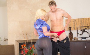 Blonde female Julie Cash having big butt freed from yoga pants before sex