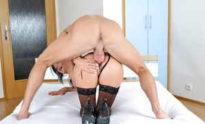 Dark haired cougar Celine Noiret stripped of nylons before banging big cock