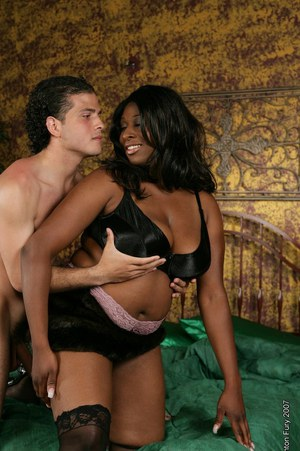 Ebony fatty Mia Maxwell gets her big fat pussy screwed roughly by a white dude