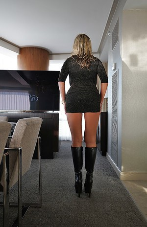 Blonde housewife Sandra Otterson uncovering nice tots wearing black boots