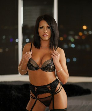 Stunning Adriana Chechik removes lingerie to dazzle in solo action