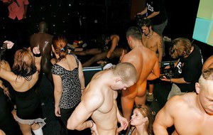 Top females sucking cock and fucking like whores during nude orgy