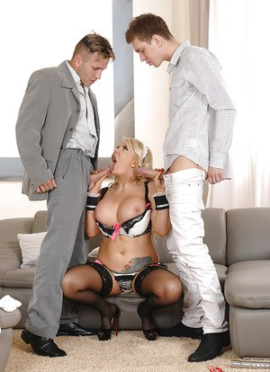 Blonde plumper Tiffany Kingston sucking off 2 guys in maid uniform