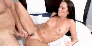 Dark haired MILF pornstar Bianca Breeze face fucked before riding a cock