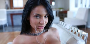 Brunette beauty Anissa Kate licking and sucking cock POV style