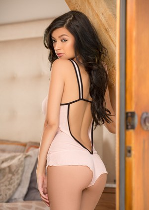 Centerfold model Eden Arya slowly taking off sexy lingerie to pose in the nude