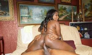 Ebony fatty Luxury Amore takes a ride on cock and swallows loads of semen