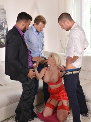 Shameless European blonde in red stockings Jarushka Ross sucks three dicks