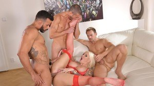 Mouth watering MILF Jarushka Ross gets her holes and mouth stuffed with cocks