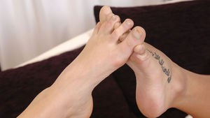 Sexy lesbians Carmen Croft & Paige Delight play foot games and hide the dildo