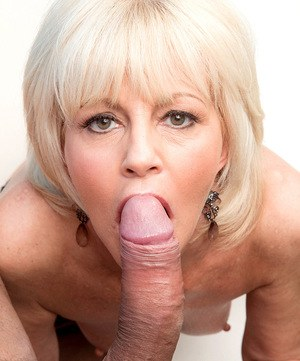 Older blonde granny Eve Bannon takes mouthful of jizz in her advanced years