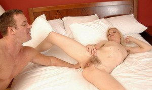 Blonde hairy MILF Heidi Hanson gets her bushy cunt drilled and creampied