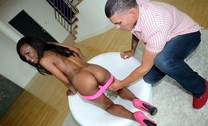 Lusty ebony sweetheart Brandy gets her fantastic ass oiled ad pussy jammed