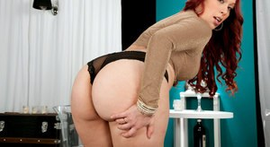 Chunky Latina redhead Alycia Starr uncovers big booty before fingering pussy