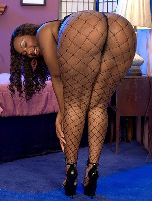 Fat black mom Skyy Black masturbates with aid of sex toys in fishnet stockings