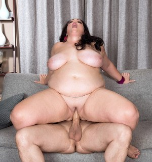 Obese housewife Charlotte Angel sucks and fucks after gift of food