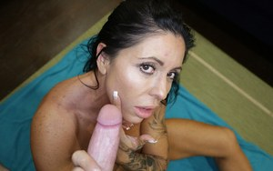 Middle aged woman Simome G jerking cock while playing with her pussy