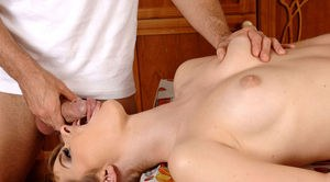 Stunning European babe Charlyse Bella sucks cock in the kitchen and eats jizz