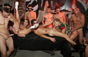 European sluts get involved into a nasty group sex action and eat tons of jizz