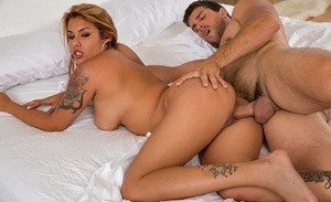 Glamour Latina redhead with big boobs gets screwed and eats a load of sperm