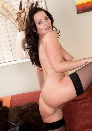 Older Euro woman Marlyn Lindsay showing off her cooter in black stockings