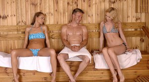 Gorgeous sauna action with two nakes bitches in love with sharing the cock